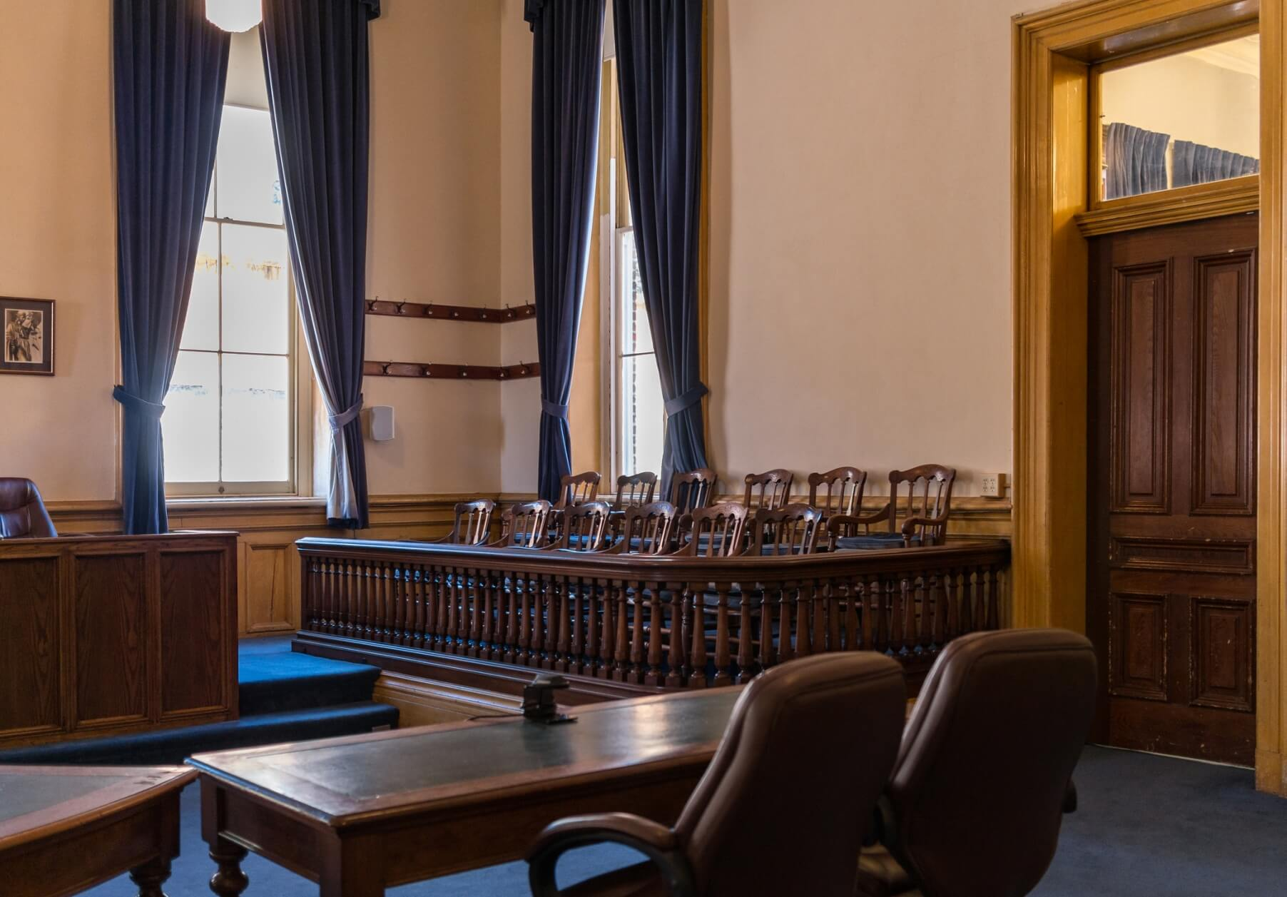 Jury section in court room